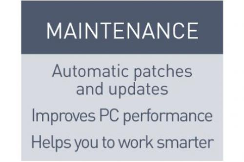 Maintenance - Automatic patches and updates, improves PC performance, Helps you work smarter